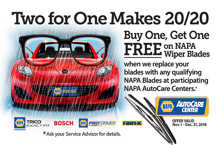 Two for One Makes 20/20. Buy One, Get One Free on NAPA Wiper Blades.